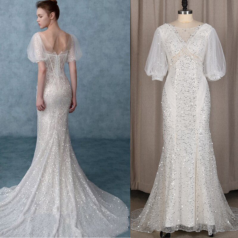 V Neck Silver Sequins Mermaid Wedding Bridal Dress Short Sleeves Lace Backless Bling Beaded Bride Gowns Vestido De Noiva 4261#