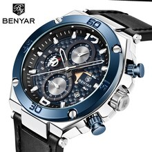 BENYAR Fashion Men Watch Top Brand Luxury Chronograph Waterproof Sport Mens Watches Leather Automatic Date Military Wristwatch