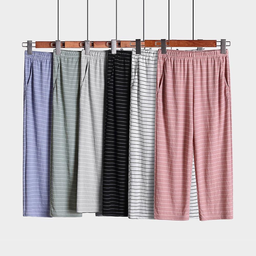 Pantalones para dormir de algodón sanala, 6 colores, para mujer, a la moda, a rayas, cómodos, informales, Leggings elásticos, ropa de mujer de cintura alta para el hogar