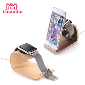 CRESTED Watch Accessories For Apple watch band 5/4/3 42mm 38mm 2 in 1 wooden charger station Stand Holder for IPhone X 7/8 Plus