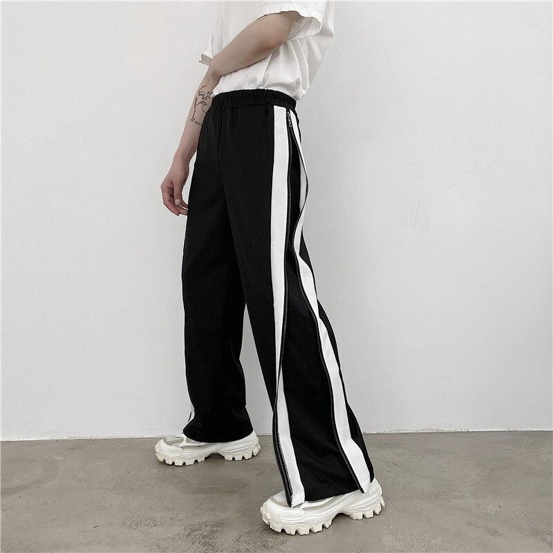 الرجال مستقيم السراويل بنطال ذو قصة أرجل واسعة الربيع والخريف جديد الظلام الجانب سستة تصميم موضة الاتجاه السراويل فضفاضة تنوعا غير رسمية