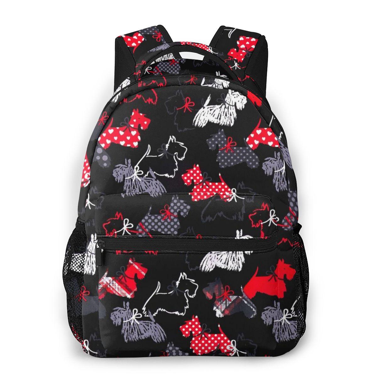Westie-حقيبة ظهر سكوتش ترير للرجال والنساء ، حقيبة طالب مطبوعة بالحيوانات ، حقيبة كتب عصرية عالية الجودة للنساء ، Laptopbag
