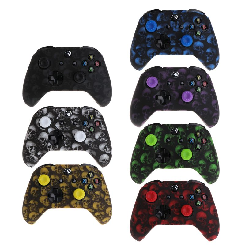 Skull Pattern Silicone Gamepad Cover+2 Joystick Caps For XBox One X S Controller