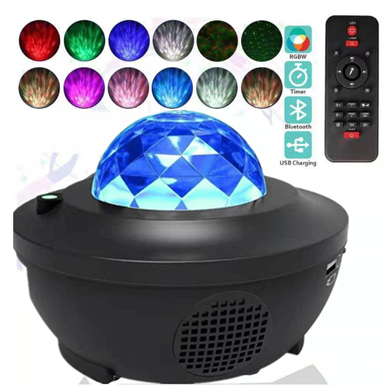 LED Galaxy Projectors Lamps Ocean Wave Led Night Light Lamps Music Player Remote Star Projector Rotating Night Light For Kids