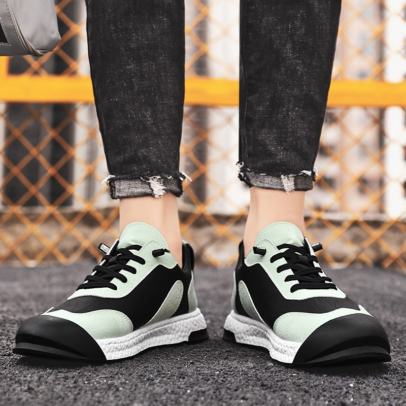Кожаные мужские кроссовки для бега Модные дышащие уличные кроссовки Нескользящие износостойкие мужские кроссовки для бега повседневная о...