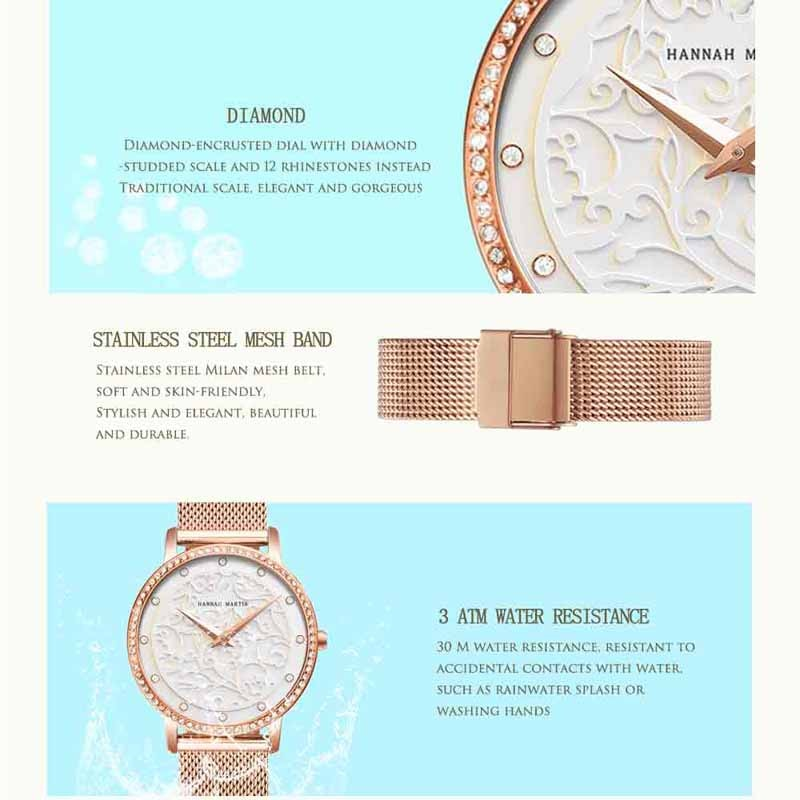 Hannah Martin 2020 New Quartz Female Watches Luxury Brand Ladies Watches Fashion Clock Wrist Watches For Women Relogio Femininos enlarge