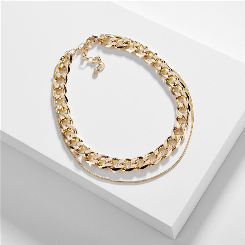 Joolim Jewelry Bold Gold & Silver Color Curb Chain Necklace Link Multi Layered Necklace Trend Jewelry 2020