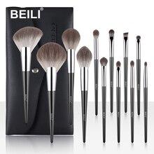 BEILI pinceaux de maquillage professionnel ensemble ventilateur poudre fond de teint Blush doux nano fibre cheveux sourcil 12 pièces brosse cosmétique pour le maquillage