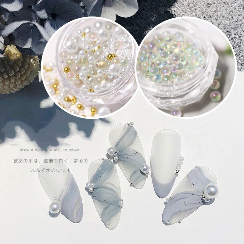 Miçangas de vidro para unhas, pedrinhas de cristal minúsculo ab para unhas, brilhantes, caviar, bolas de vidro, tamanho misto, pérolas, holo, 1 caixa decorações artísticas