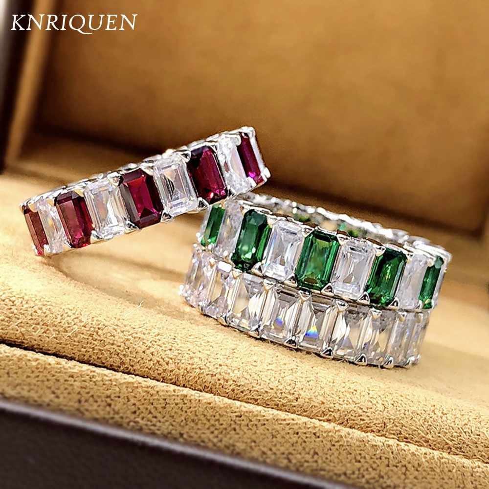 2021 Trend 925 Sterling Silver 3*5mm Lab Diamond Ruby Emerald Gemstone Rings for Women Cocktail Party Wedding Bands Jewelry Gift