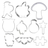 10 pcs cookie cutters moulds puzzle animal cute candy biscuit coolie diy kitchen baking tools stainless steel printing cutting