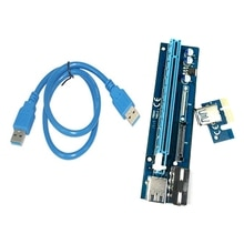 PE503 PCI-E 1X to 16X Extension Cable Dual Power Supply Interface 4PIN+SATA Adapter Card for BTC Min