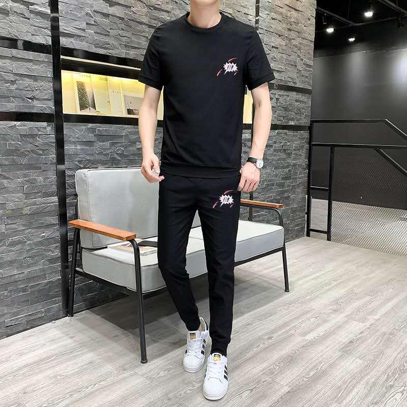 Мужская футболка, трендовый летний костюм, мужской комплект одежды с красивыми оборками, привлекательный корейский модный бренд 2021, для отд...