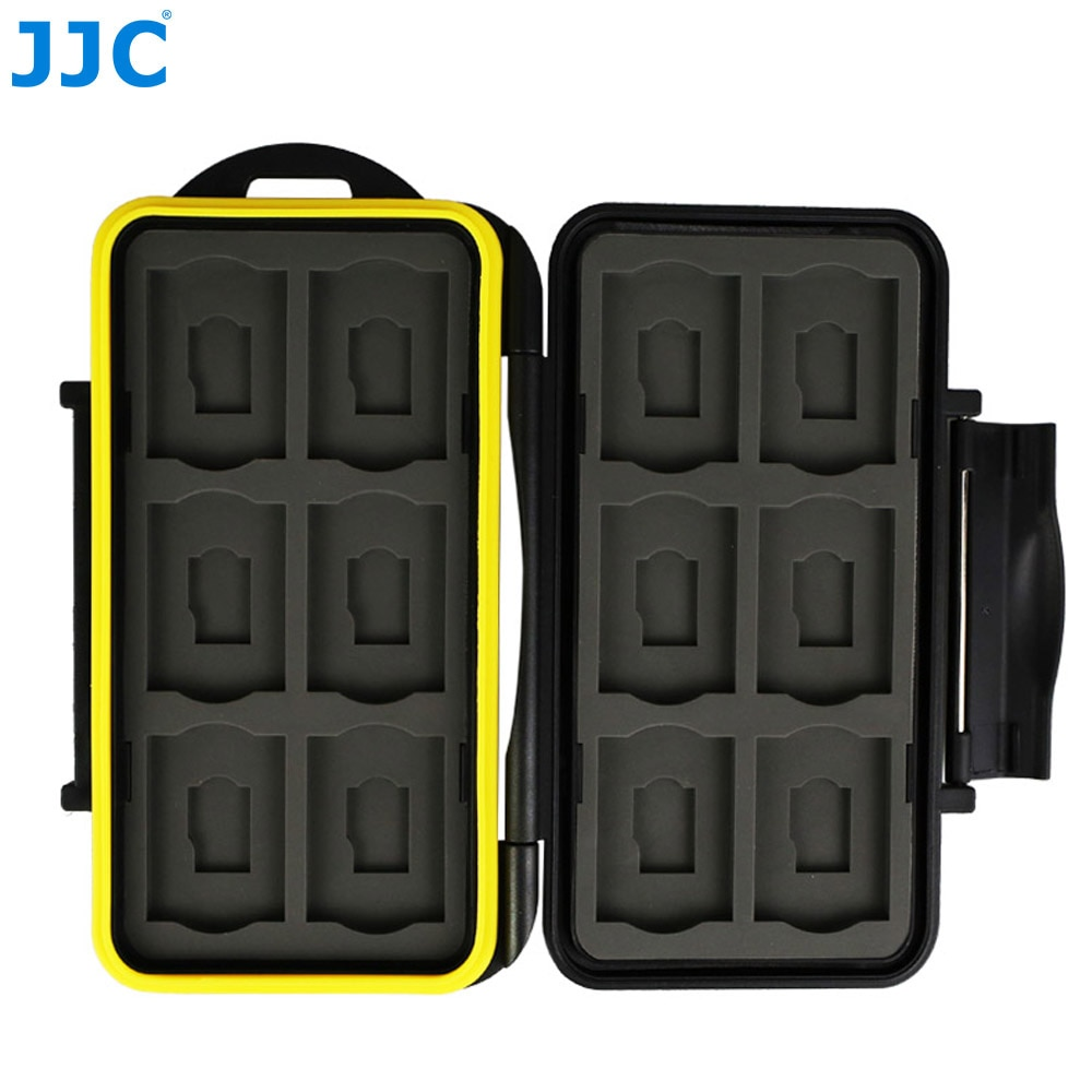 JJC Water-Resistant Anti-Shock Holder Storage SD  Memory Card Case Protector Cover with Carabiner for 12 SD & 12 Micro SD Cards