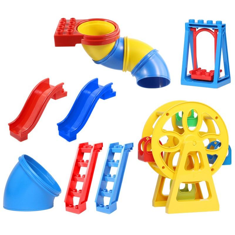 Blocks Creativity Playground Parts Big Building Blocks Bricks Swing Slide Ladder Pipeline Accessories Compatible Duplo DIY Toys