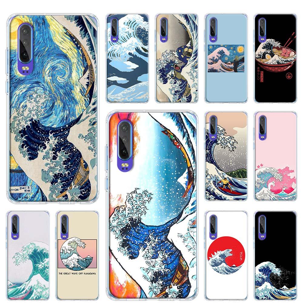 Caso suave para Huawei P40 Pro + P20 P30 Pro P10 P9 Lite P Smart Plus 2019 cubierta del teléfono Hokusai La Gran Ola