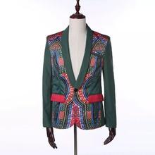 De los hombres de la Moda Africana Dashiki de etnia Floral Blazer estampado abrigo Ankara verde Slim un botón diente bolsillo prendas de vestir traje de chaqueta