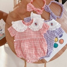 Yg brand children's new summer Jumpsuit cute baby collar Purple Plaid girl's triangle climbing suit