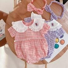 Yg brand children's new summer Jumpsuit cute baby collar Purple Plaid girl's triangle climbing suit