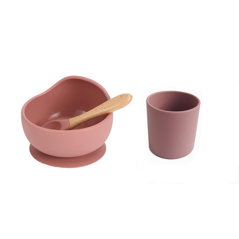 Детская силиконовая посуда, силиконовый набор для кормления, мягкие чашки без БФА, деревянная ложка, детская чаша на присоске, посуда пищево...