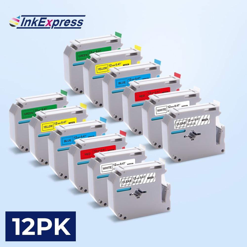 12 Uds MK231 etiqueta cinta para hermano MK 231 M de cinta de mk 131 MK 431 MK 631 etiqueta cinta 12mm para Hermano P táctil etiqueta impresora PT-80