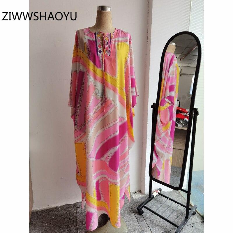 ZIWWSHAOYU automne femme grande taille robe ample piste concepteur femmes noeud papillon manches chauve-souris bohème vacances longues robes