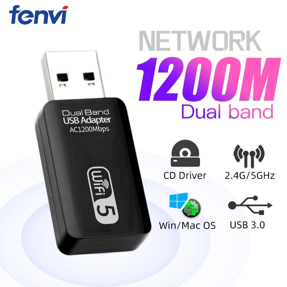 Fenvi-tarjeta de red inalámbrica WiFi, adaptador LAN AC1200 con antena giratoria para...