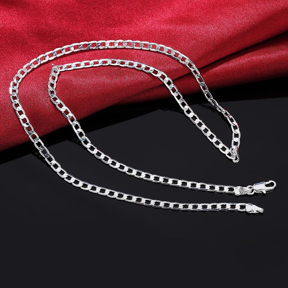 Классический-925-стерлингового-серебра-Серебрянное-ювелирное-ожерелье-16-30-дюймов-Изысканный-4-мм-Боком-цепи-ожерелье-высокого-качества-рожд