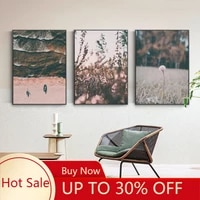 Affiche decorative sur toile avec plante de pissenlit  herbe  paysage naturel  peinture murale  decoration de maison