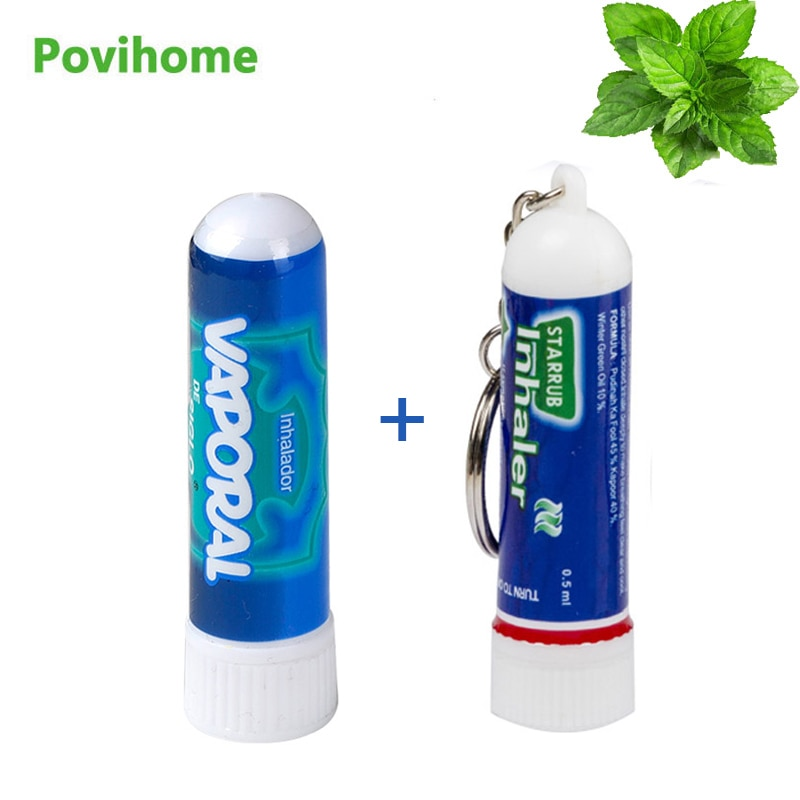 2Types Of Mint Rhinitis Cream Nose Inhaler Essential Oil Relieve Nasal Congestion Colds Headaches Dizziness Plaster Health Care