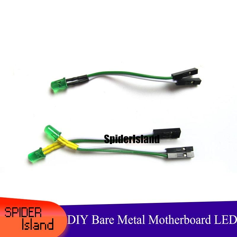 Placa base de Metal desnuda DIY para estudio de computadora, indicador LED de 6CM de longitud, fuente de alimentación verde, 5MM HDD LED de Cable corto