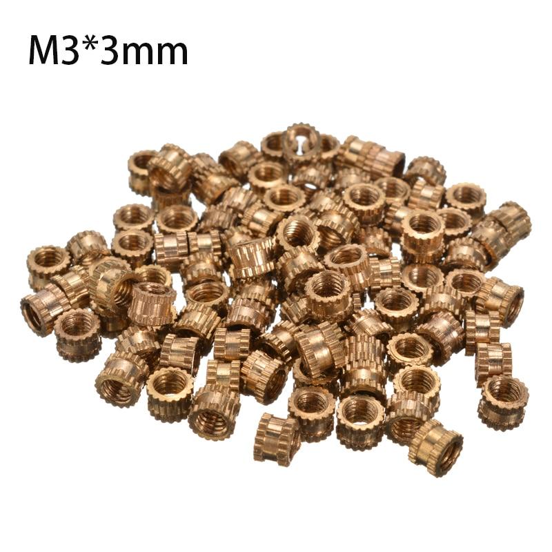 100pcs 4.2mm Diameter Round Metal Knurl Thread Insert Nuts M3*3mm Threaded Brass Tone