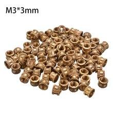 Écrous à filetage rond en métal   100 pièces, diamètre de 4.2mm, fil métallique M3 * 3mm, tonalité de laiton fileté