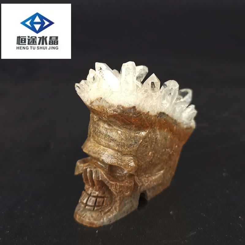 Carved clear quartz Crystal Gem Stone skull CLUSTER POINT reiki healing