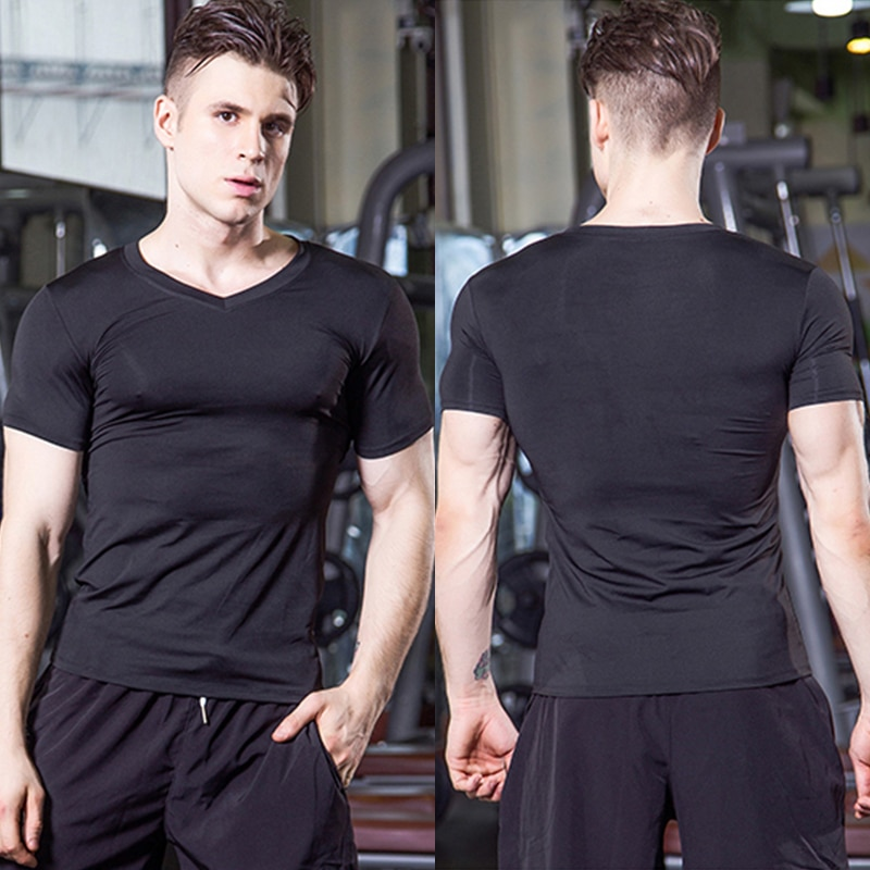 Mens Tshirt Bodybuilding Fitness Tops Casual Quick Drying Compression Men Shirt Short Sleeve V Neck Sports Male Tees