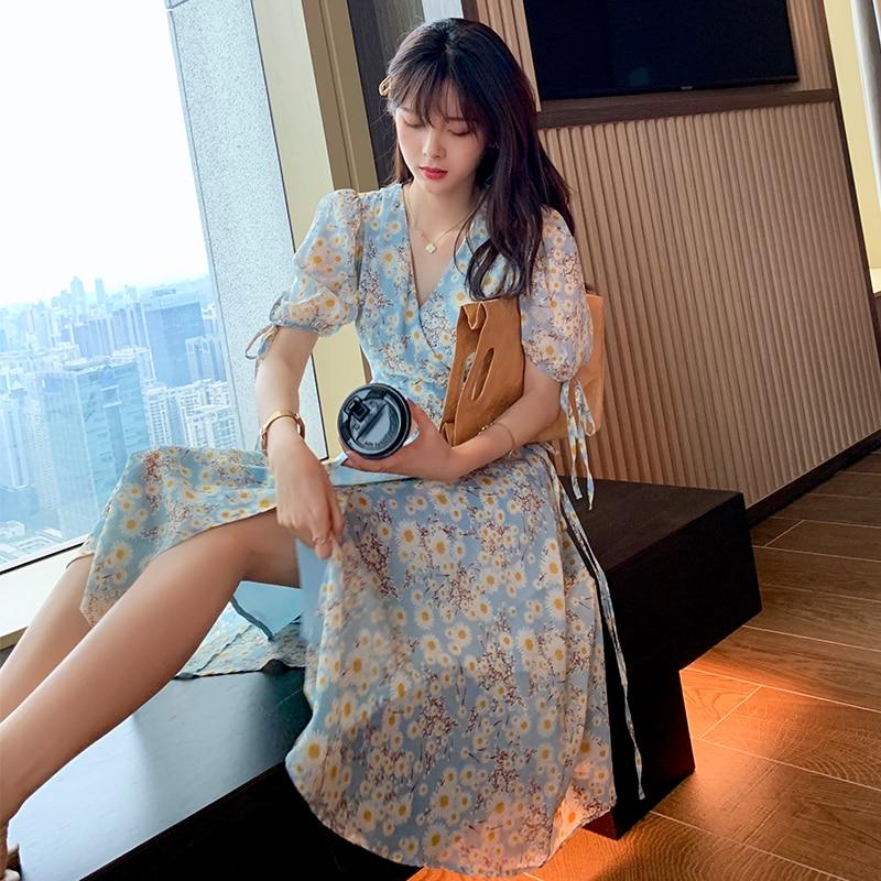 Mishow vestido para as mulheres 2020 verão floral impressão vintage a line sexy de cintura alta magro boho praia vestidos femininos mx20b1937