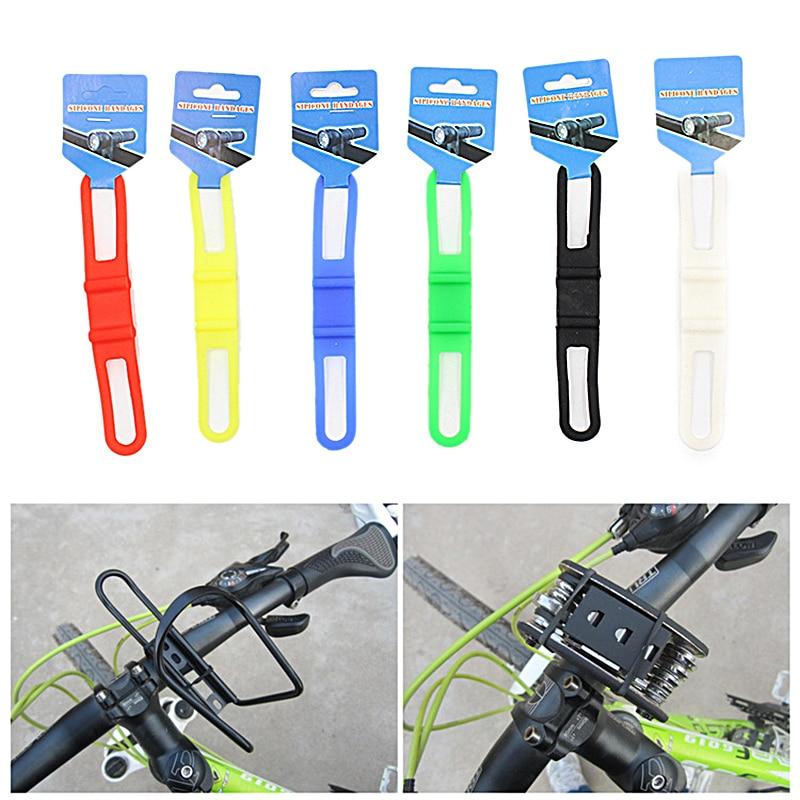 Prático ciclismo silicone cinta bandagem fixação alta elasticidade silicone bicicleta luz titular banda cinta equipamentos ciclagem