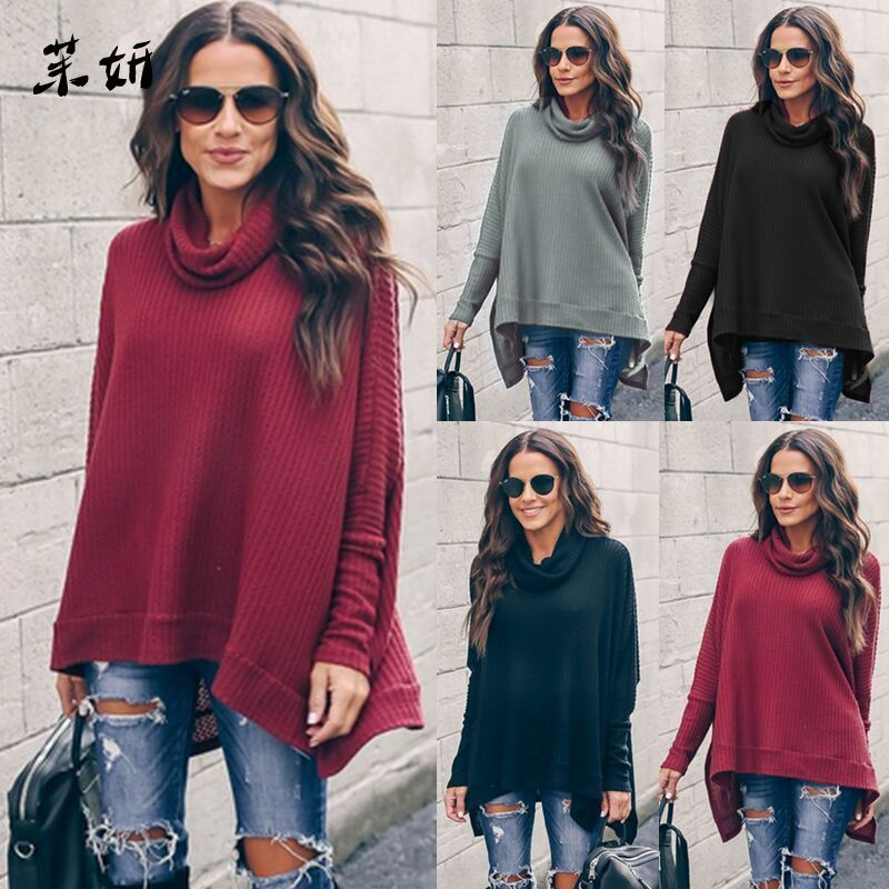 Primavera 2020 otoño cuello alto mujeres suéter suelto Bat Batwing manga Color sólido suéter suave moda caliente suéter