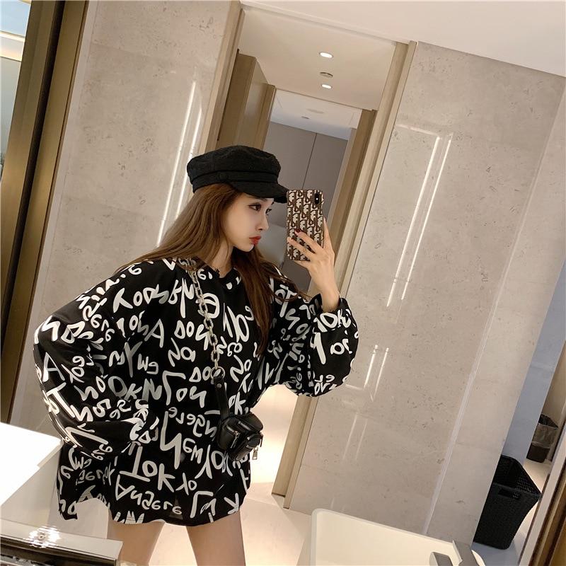 Sudadera de mujer, sudadera con estampado de letras, bts holgada de manga larga medio larga para mujer, tops para mujer, ropa 2020