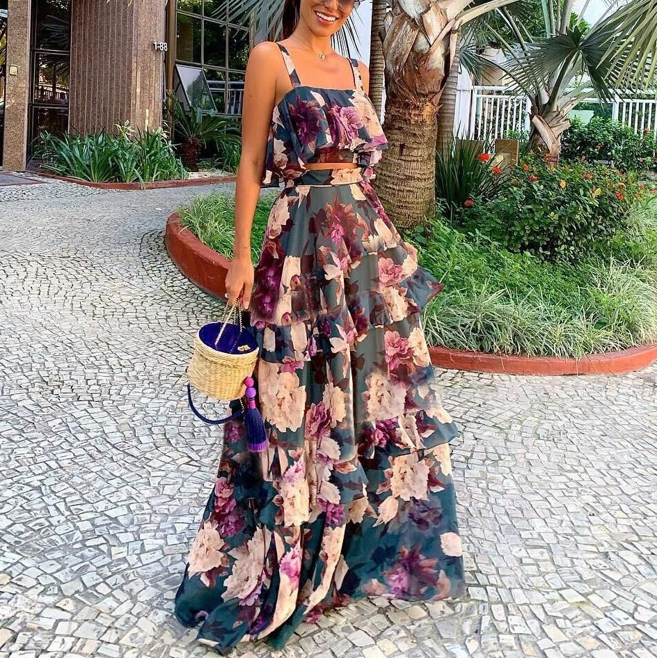 فستان نسائي وصل حديثا 2021 ماركة غير رسمية بدون أكمام حبال زهرة مسرح كشكش فستان أنيق مناسب ل بارتي رسمي