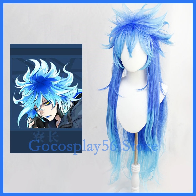 Wizard wig wig hades hades cosplay cabelo sintético halloween masculino feminino unissex role play misturado azul