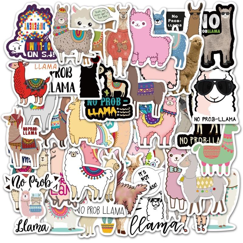 Linda pegatina de animales de Alpaca oveja, Llama de camello Kawaii, dibujos animados para ordenador portátil, álbum de recortes, monopatín calcomanías de juguete, pegatinas F5 50 Uds