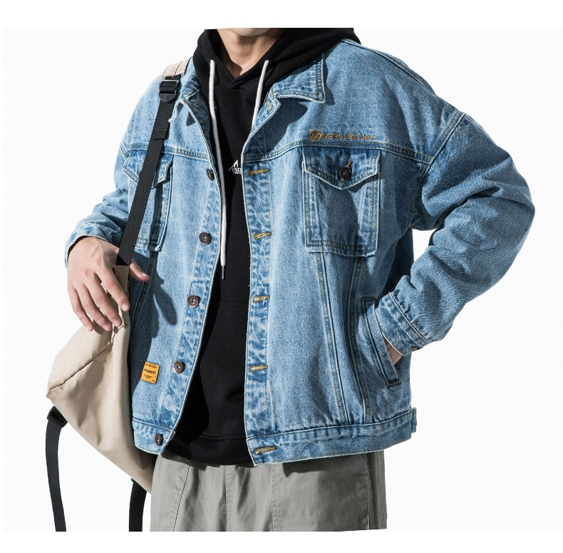 Jacket mens denim clothes spring autumn clothes casual coat trendy brand Korean retro loose spring tooling top men jean jackets  - buy with discount