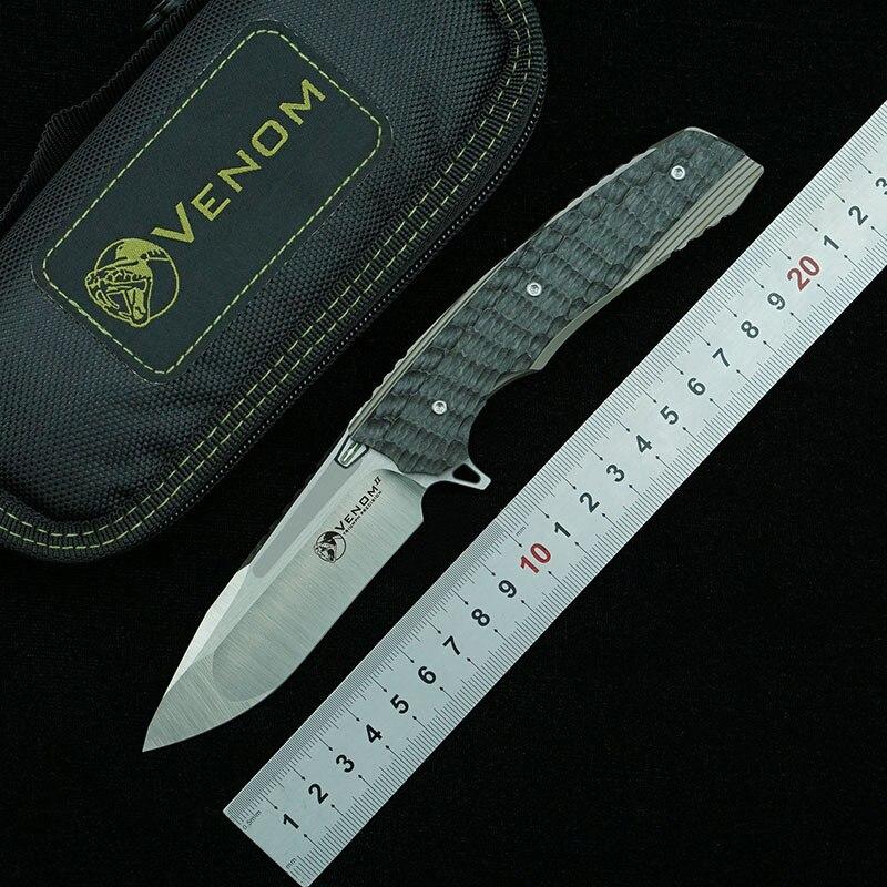 كيفن جون فينوم 2 للطي M390 شفرة سبائك التيتانيوم ألياف الكربون مقبض التخييم بقاء في الهواء الطلق المطبخ EDC هدية سكينة قطع