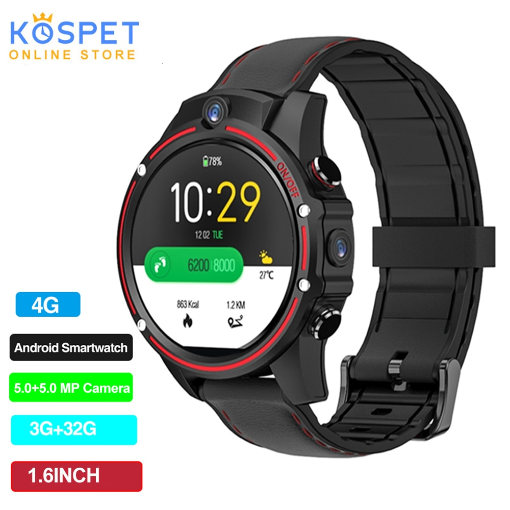 Review Kospet Vision Smart Watch Phone 1.6inch 4G-LTE 3G+32G 8.0MP Front-facing Dual Camera Video Call 800mAh Google Play Smart Watch