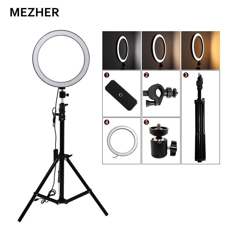 "Mezher 10 ""26cm Selfie Ring Light Stand regulable 160LEDs lámpara anular 3200 K-5600 K para transmisión en vivo/maquillaje, Selfie, Grabación de Vídeo"