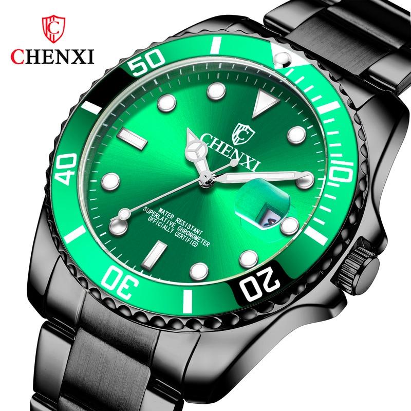Relógio de Negócios Premium à Prova Chenxi Masculino Casual Dwaterproof Água Luminosa Luxo Moda Preto Relógio Quartzo Wa184
