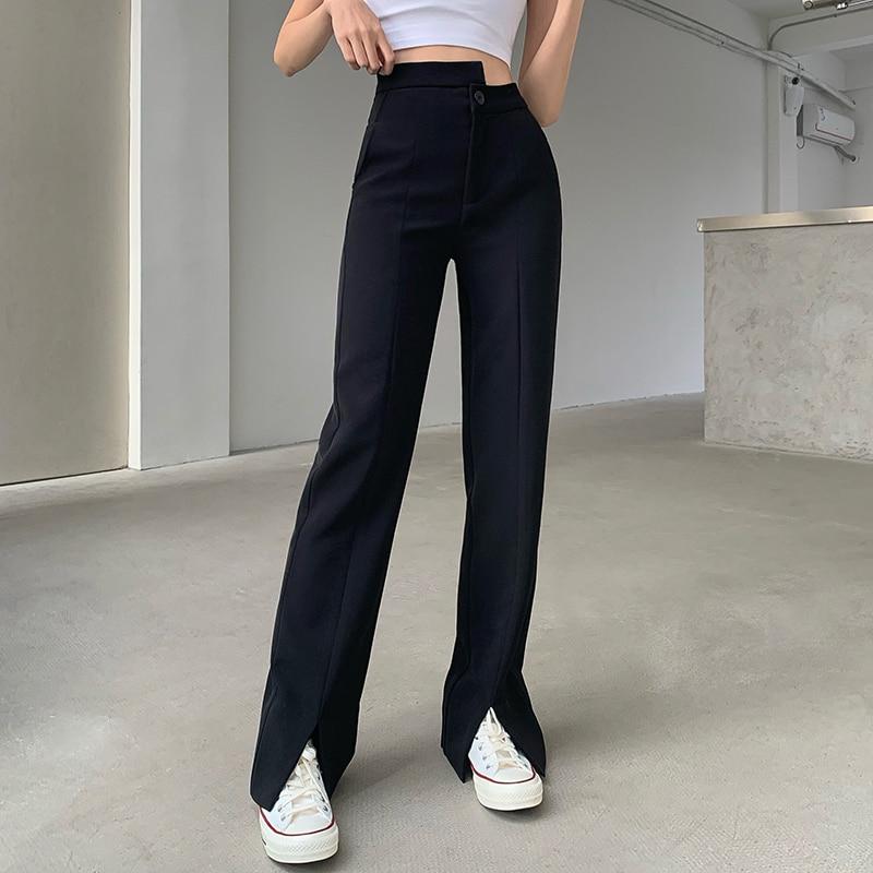 Traje con abertura negra para mujer, pantalones de pierna ancha con efecto...