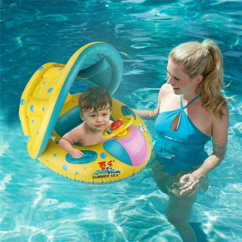 Asiento de natación para bebé, cojín, sombrilla, dibujos animados, coche pequeño, inflable, juguetes de piscina para niños