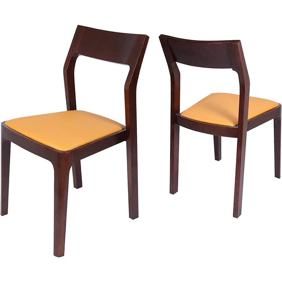 مجموعة كرسي الطعام من 2 منتصف القرن الجلود والخشب كرسي لغرفة المعيشة غرفة نوم المطبخ ، الراقية الحديثة كرسي لهجة بدون ذراع